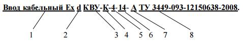 Взрывозащищенный кабельный ввод Ех d КВУ-К-4-14- А ТУ 3449-093-12150638-2008