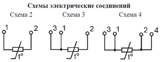 Материал защитной арматуры - сталь 12Х18Н10Т.  Схема соединений.  Исполнения термометров ТСП(ТСМ)/1-1287...