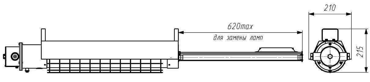 Размеры без защитной решетки и наружного отражателя